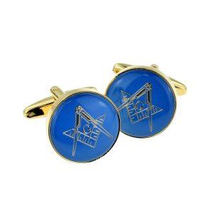 Regalia Store UK x2aj323-300x300 Blue & Gold Enamelled Masonic Freemason Cufflinks with G