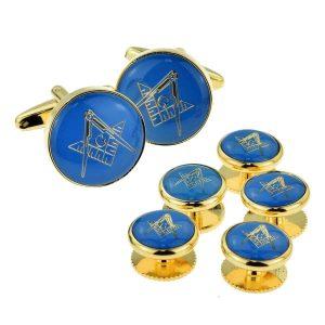 Regalia Store UK x2aj323a-300x300 Blue & Gold Enamelled Masonic Cufflinks with G & 5 Button Stud Set
