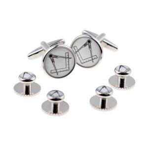 Regalia Store UK x2boc263a-300x300 White Masonic No G Cufflinks & 4 Studs Set