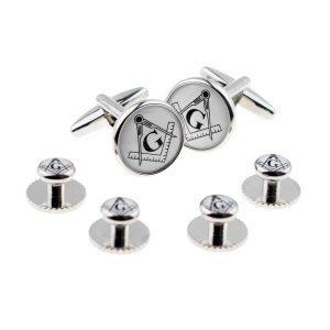 Regalia Store UK x2boc264a-300x300 White Masonic with G Cufflinks & 4 Studs Set