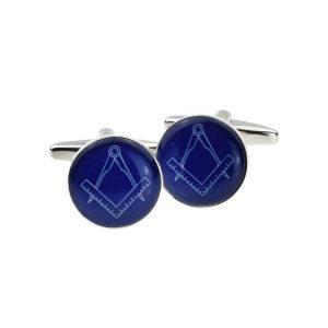 Regalia Store UK x2bocm001-300x300 Round Blue Masonic Cufflinks