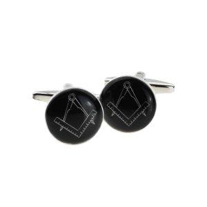Regalia Store UK x2bocm003-300x300 Round Black Masonic Cufflinks