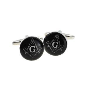 Regalia Store UK x2bocm004-300x300 Round Black Masonic with G Cufflinks