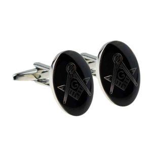 Regalia Store UK x2m020-300x300 Rhodium Plated Black Oval Masonic Cufflinks (With G)