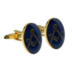 Regalia Store UK x2m021-300x300 Gold Plated Blue Oval Masonic Cufflinks (No G)