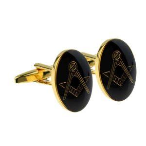 Regalia Store UK x2m022-300x300 Gold Plated Black Oval Masonic Cufflinks (No G)