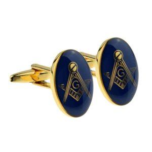 Regalia Store UK x2m023-300x300 Gold Plated Blue Oval Masonic Cufflinks (With G)