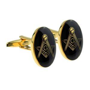 Regalia Store UK x2m024-300x300 Gold Plated Black Oval Masonic Cufflinks (With G)