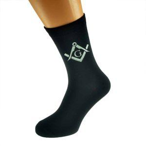 Regalia Store UK x6n344-300x300 Silver Masonic With G Design Mens Black Socks