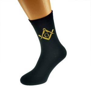 Regalia Store UK x6n345-300x300 Gold Masonic With G Design Mens Black Socks