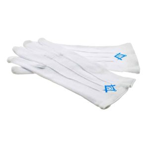 Regalia Store UK xlfg003-300x300 One Size Mens Plain White Cotton Gloves with Light Blue Masonic Design (With G and Without G)