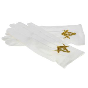 Regalia Store UK xlfg013-300x300 New Improved One Size White Cotton Gloves with Embroidered Gold Masonic Design (With G)