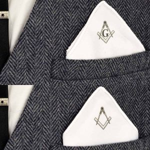 Regalia Store UK xps009-300x300 Masonic Compass & Square Pocket Square - with or without G