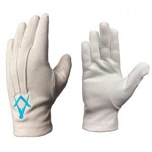 Regalia Store UK combine-300x300 White Cotton Masonic Gloves [Turquoise blue S&C]